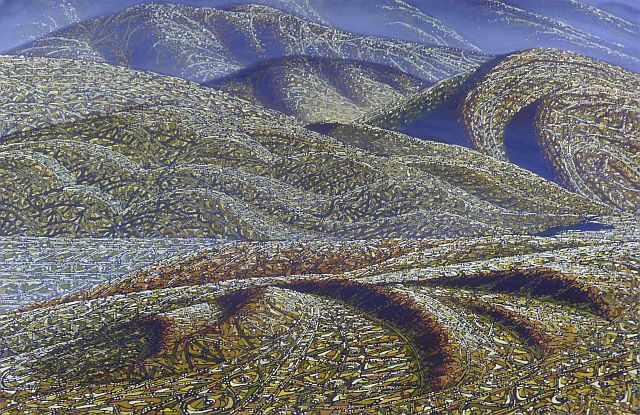 Terrain 3 by siv grava acrylic on canvas 153cm x 102cm unframed sold